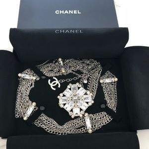CHANEL LIGHT GRAY SILVER CHAIN CRYSTAL BELT NWOTS!